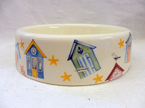 Beach Hut Design Dog Bowl