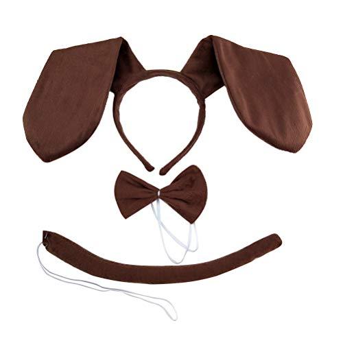Kostüm Dackel Kinder - TOYANDONA Hund Kostüm Kinder Dackel Set Stirnband Fliege und Schwanz Karneval Party Kostüm Zubehör 3tlg