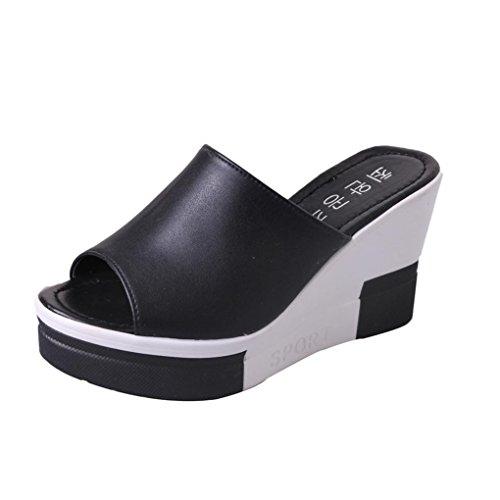 Schuhe Damen Sommer Sandalen Pendiente Single Band Chunky Heel Sandale mit Knöchelriemen in Größe EU 34-39 (34, Schwarz)