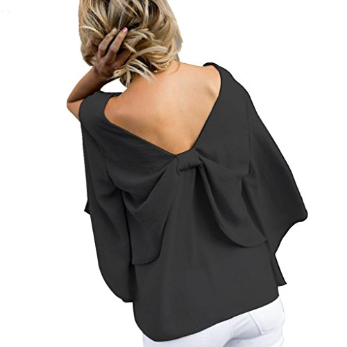 iHENGH Damen Sommer T-Shirt Tops, Frauen Rücken V-Ausschnitt Bowknot Bluse Chiffon Langarm Tank Sommer