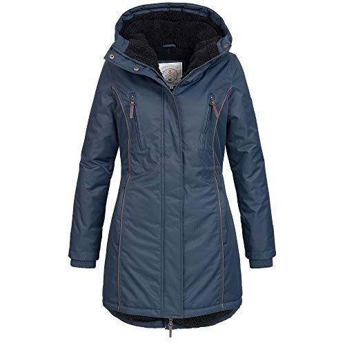 Azuonda Damen Winter Jacke Mantel Winterjacke Parka warm gefüttert Kapuze Az101 XS-XXL 2-Farben, Größe:XL, Farbe:Navy