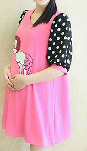 Dehang Maternité femmes Robe de grossesse Col rond imprimée Manches demi Rose rouge