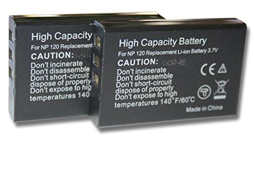 2 x vhbw Akku Set 1600mAh (3.7V) für Kamera Kyocera, Yashica Contax TVS, TVS digital wie NP-120, BP-1500s. - Contax Digital-tv