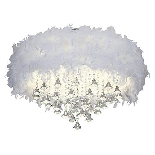 Spots de plafond Plafonnier Plume Cristal Lumière Télécommande Gradation LED Plafonnier Simple Moderne Salon Salle À Manger Plafonnier (Size : 68 * 68 * 52cm)