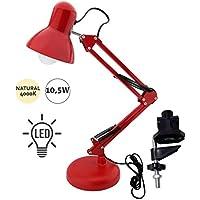 Flexo Serie Antigona Articulable Rojo Con Bombilla LED