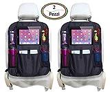 Protezione Sedile Auto AMUNIC Confezione 2 Pezzi Proteggi Sedile Auto Bambini Coprisedile Misura Universale Antisporco Impermeabile Organizer Auto Portaoggetti Tasche Multiple e Supporto per Tablet