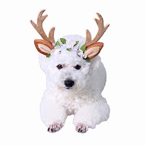 m Weihnachten Kopf Hoop Weihnachten Rentier Geweih Katze Hund Headwear mit Blumen für Katze und kleine Hund (S) ()