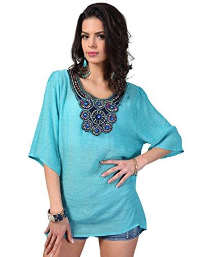 Perlen Lange Ärmel Tunika (Ferand Elegant Damen Tunika Kleid mit verziertem Ausschnitt, Top mit 3/4 langen Ärmeln in eine Größe (für M - 3XL), Türkis)