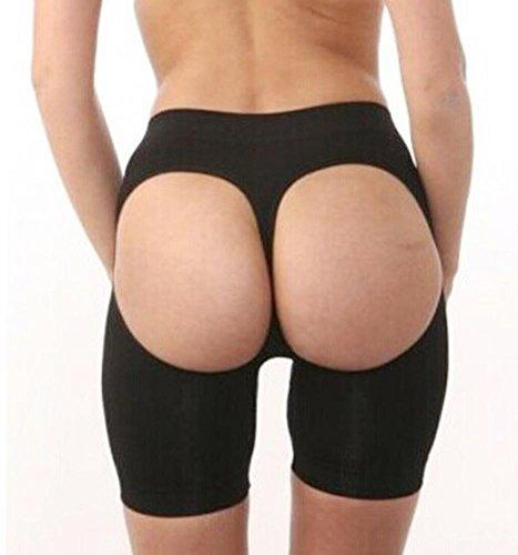 ZHLONG Women 's Nahtlose sexy Body Sculpting Hüfte hoch - bottom Exposed ass Shapewear Shorts Thong , black , xxl
