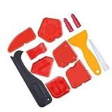 LuLyL 12 Stück Abdichtungs Werkzeug Kit Silikon Dichtungsmittel Finishing Tool Fugenschaber Caulk Remover und Caulk Düse und Caulk Caps (Rot)