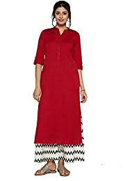 Metro Fashion Women's Solid Kurta With Two Patch Pockets.