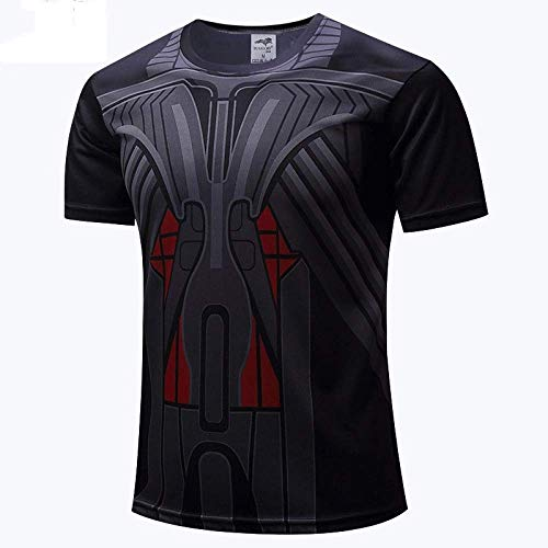 JUFENG 3D Superheld T-Shirt Mannes Atmungsaktiv Schnell Trocknend Sport Beleuchtung T-Shirt Übung Pad Racer Top Fitness Kostüm,H-XL
