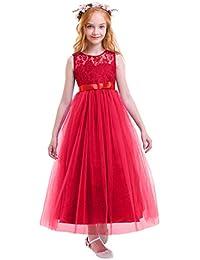 OBEEII Vestito Elegante da Ragazza Festa Cerimonia Matrimonio Damigella  Donna Sposa Prima Comunione Battesimo Ballerina Carnevale 75be4914533