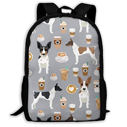 Ratte Terrier Hund Stoff Kaffee Muster 2_704 Reise-Laptop-Rucksack, Extra große College School Student Rucksack für Männer und Frauen , klassischen Rucksack
