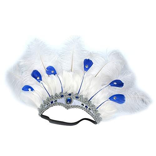 Kostüm Indian Mardi Gras - XIANGBAO-Kopfschmuck Zubehör Stirnband Sexy Kostümzubehör Straußenfeder Kopfschmuck Indian Dance Bauchtanz Perform Hair Hoop (Color : 7white/6blue)