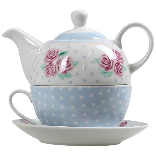 Porzellan Tee Kaffee Set Floral Polka Dot Tee für eine Teekanne Topf Tasse und Untertasse Serving Set Polka Dot Tee-set