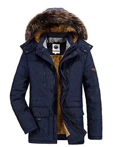 Warme Winterjacke Herren Kapuzenparka Outdoor Gefüttert Baumwolle Jacke Männer Dicker Wintermantel Jacke Blau S