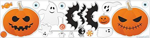 Typographus Halloween Wandaufkleber Fensteraufkleber Set - blasenfreies aufkleben & rückstandsfrei entfernbar - 19 Motive Deko Aufkleber (Halloween Steht Vor Der Tür)