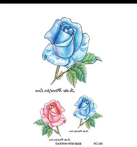 Lfvguiop tatoo falso sexy donne braccio spalla acqua trasferimento tatoo impermeabile autoadesivo del tatuaggio temporaneo blu rosa fiore rosa pcs 4