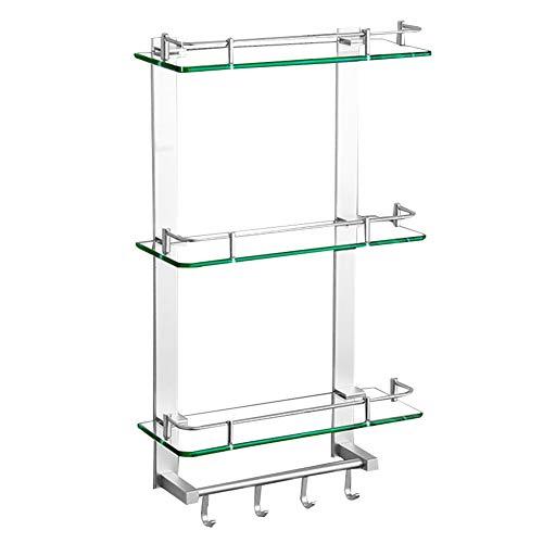 KKCF Dusche Rack Eckablage Schichtung Lager Hohe Kapazität Leitplanke Beweglicher Haken Glas, 2 Stile, 6 Größen (Farbe : B, größe : 50cm)