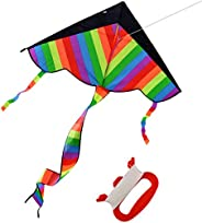 GIFT Rainbow Kite for Kids, Girls, Boys, Toddlers - Most Popular Outdoor Toys, Huge Kite with 50m/164 Feet Fly