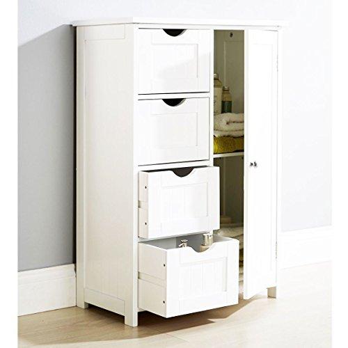 Armadietto in legno bianco, con 4cassetti, per il bagno o la camera da letto