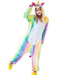 Aidonger Einhorn Kostüm Pyjama Jumpsuit Unisex Kinder Erwachsene Cosplay