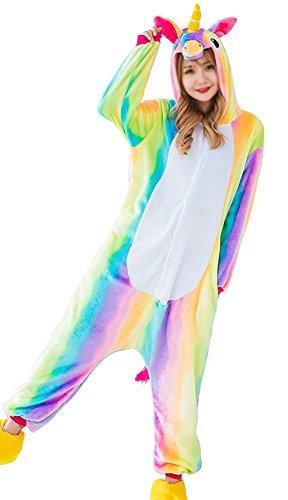 Aidonger Einhorn Kostüm Pyjama Jumpsuit Unisex Kinder Erwachsene Cosplay(Regenbogen,M)