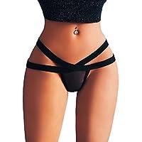 VJGOAL Mujeres Sexy Color sólido Negro Appeal Lencería Cruz Tanga Briefs Ropa Interior Bragas Tanga Tangas Knick
