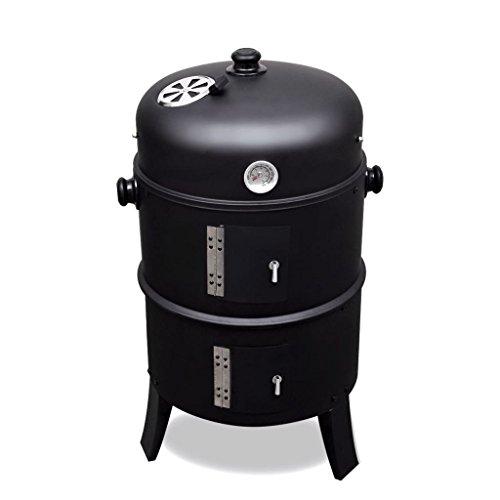 Barbecue BBQ rond américain Smoker fumoir bois ou charbon Hauteur totale 82cm et Diamètre grille de cuisson 39cm