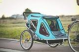 Aurotek Yogui Twin, Rimorchio Bici per Bambini, a Due Posti, in Alluminio con Sospensione Facilmente Trasformabile in Passeggino con Kit Footing, Barra Inclusa. qualità Premium, Blu, M