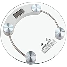 billionBAG Round Thick Tempered Glass Electronic Digital Body Weight Weighing Scale, 100kg (bb1,Transparent)