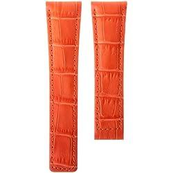 Echtes Leder Uhrenarmband, Orange Alligatorprägung, für TAG Heuer, 19/18 mm