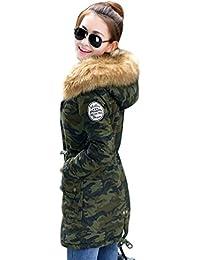 YOUJIA Abrigo Chaqueta Parka de Mujer con Capucha de Piel Sintética para Invierno