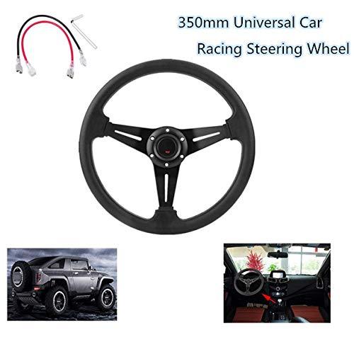 Lenkrad,universal portlenkrad Motorsport Lenkrad Sportlenkrad mit PU-Leder für die Fahrzeugmodifikation konzipiert und die meisten Fahrzeugmodelle, 350mm,rostfrei und langlebig(schwarz)