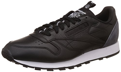 Reebok Herren Classic Leather It Sneaker, Schwarz (Black/Coal/White), 45.5 EU (Charme Sneaker-sohle)