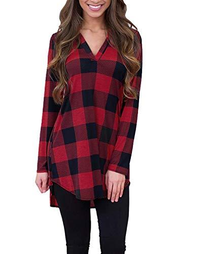Achioowa camicetta da donna camicia a quadri tops manica lunga casual shirt autunno nuovo retrò chic rosso nero s