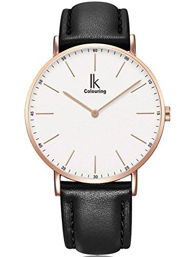 Alienwork Herren Damen Armbanduhr Quarz Rose-Gold mit Lederarmband schwarz Ultra-flach Slim-Uhr -
