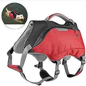OSPet Dog Life Jacket und Backpack Vest Pet Harness Satteltasche Wanderausrüstung für Camping Schwimmen Reisen für mittelgroße Hunde