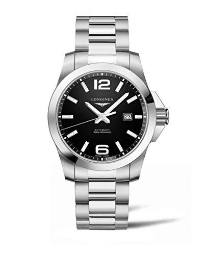 Longines Conquest nero quadrante automatico mens orologio L37784586