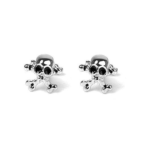 LEORX 1 Paar Herren Skull geformte Edelstahl Manschettenknopf Ärmel Buttons (Französisch-stil-shirt-form)