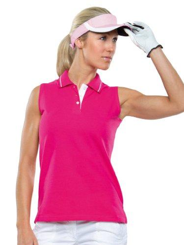 Ärmelloses Piqué Poloshirt - Farbe: Raspberry/White - Größe: M (Golf-polo Frauen Piqué)