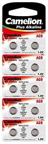 Alkaline Knopfzelle CAMELION AG9/LR45/LR936/394 mit AlMn/ 1.5V/ 50 mAh