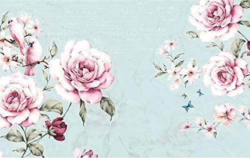 Carta da parati 3d fotomurali inglese d'annata floreale rosa dell'acquerello dipinto a mano-350cmx250cm-fotomurale- carta da parati-murale -decorazione da muro