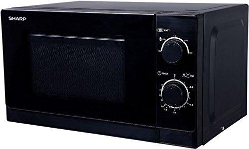 Preisvergleich Produktbild Sharp R200BKW Solo-Mikrowelle / 20 L / 800 W / 5 Leistungsstufen / Timer von 35 Minuten bis 00 Sekunden / gewichtgesteuertes Auftauen / Energiesparmodus / Glasdrehteller (25,5 cm) / schwarz