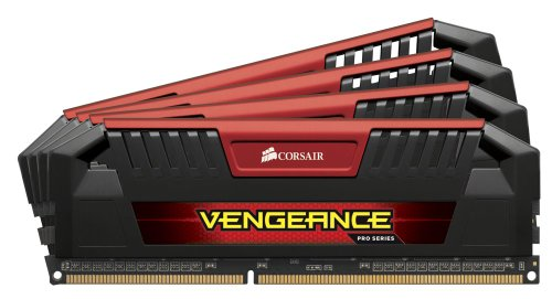 Corsair CMY32GX3M4A1600C9R Vengeance Pro Series DDR3 1600 MHz CL9 XMP Performance Desktop Memory Kit - Red, 32 GB (4 x 8 GB)