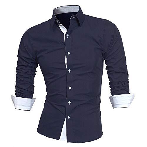DNOQN Sport Poloshirt Herren Herren Herbst Beiläufige Formale Feste Slim Fit Langarm Kleid Shirt Top Bluse XL (Christian Polo-shirts)