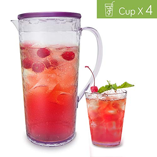 Elegear Karaffe/Wasserkaraffe Krug Kühlkaraffe Wasserkrug BPA-freiem Kunststoff Becher und Krug-Set, Eistee-Kanne, für Wasser, Limonade, Apfelschorle, Früchte, Cocktail, Tee, Säfte und Eiswürfel