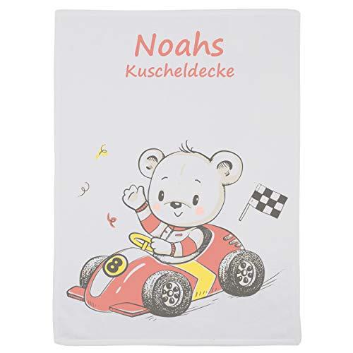 Wolimbo Flausch Babydecke mit Namen und Rennfahrer Auto Motiv - personalisierte/individuelle Geschenke für Babys und Kinder zur Geburt, Taufe und Geburtstag - 75x100 cm (Rennfahrer Die Besten)