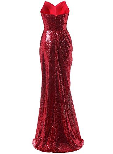 Azbro Women's Sweetheart Strapless Sequins Side Slit Evening Dress Burgundy